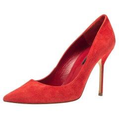Carolina Herrera Red Suede Pointed Toe Pumps Size 40