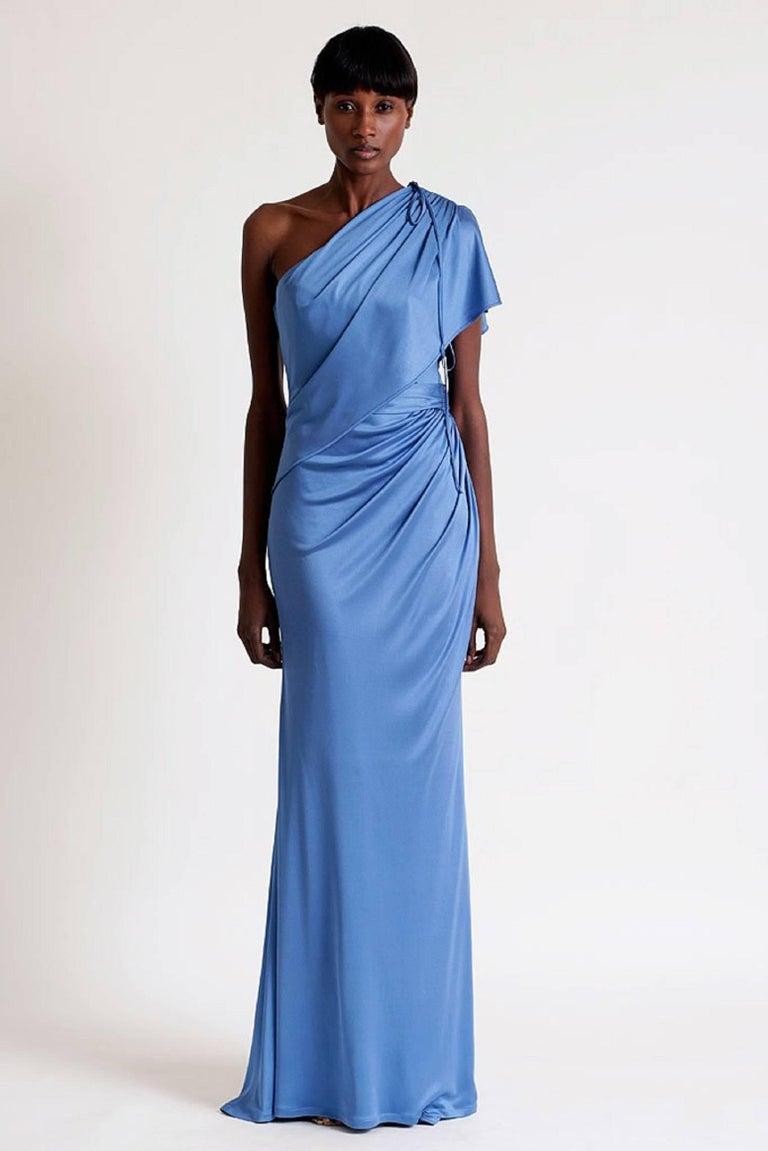 CAROLINA HERRERA Resort 2011 Blue Silk Grecian Draped One Shoulder ...