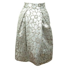 Carolina Herrera Silver and Brown Skirt  - 4