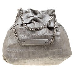 Carolina Herrera Silver Leather Audrey Drawstring Hobo