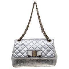 Carolina Herrera Silver Leather Bow Flap Shoulder Bag