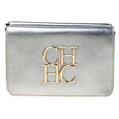 Carolina Herrera Silver Leather Clutch