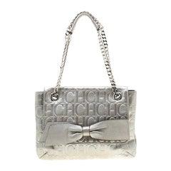 Carolina Herrera Silver Metallic Monogram Leather Audrey Shoulder Bag