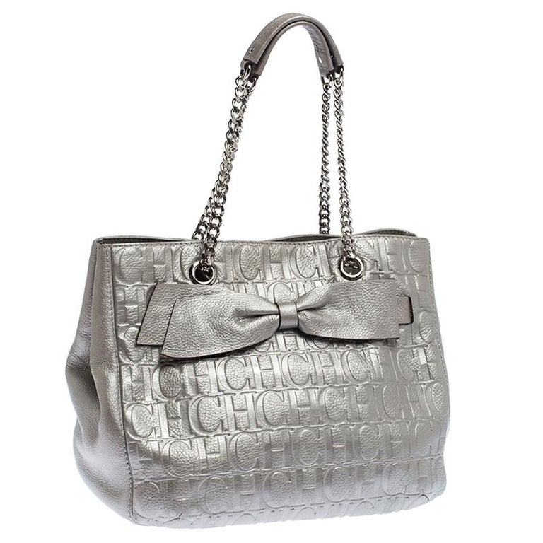 Carolina Herrera Silver Monogram Leather Audrey Tote At 1stdibs