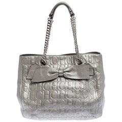 Carolina Herrera Silver Monogram Leather Audrey Tote