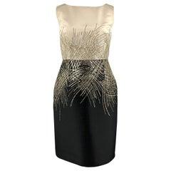 CAROLINA HERRERA Size 12 Black & White Silk Sequin Sleeveless Cocktail Dress
