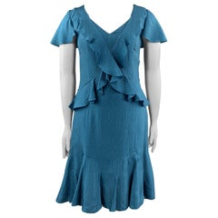 CAROLINA HERRERA Size 12 Teal Textured Ruffle V Neck Dress
