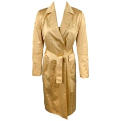 CAROLINA HERRERA Size 4 Gold Satin Silk / Cotton Double Breasted Belted Dress
