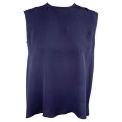 CAROLINA HERRERA Size 4 Navy Silk Asymmetrical Sleeveless Blouse