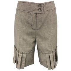 CAROLINA HERRERA Size 6 Brown Tweed Wool Pleated Shorts