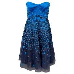 CAROLINA HERRERA Size 6 Royal Blue & Navy Cotton / Polyester Dress