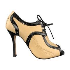 CAROLINA HERRERA Size 8 Beige & Back Leather Peep Toe Oxford Booties