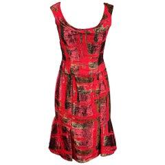 CAROLINA HERRERA Size 8 Red Jacquard Silk Tulip Cocktail Dress