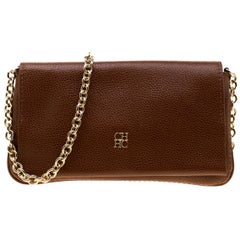 Carolina Herrera Tan Leather Chain Flap Shoulder Bag