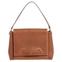 Carolina Herrera Tan Monogram Leather Medium Doma Insignia Shoulder Bag