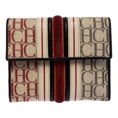 Carolina Herrera Tri Color Signature Canvas, Suede and Leather Trifold Wallet