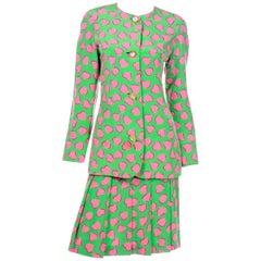 Carolina Herrera Vintage Green Silk Skirt Suit W Pink Hearts