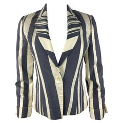 Carolina Herrera White and Blue Blazer Jacket, Size 6