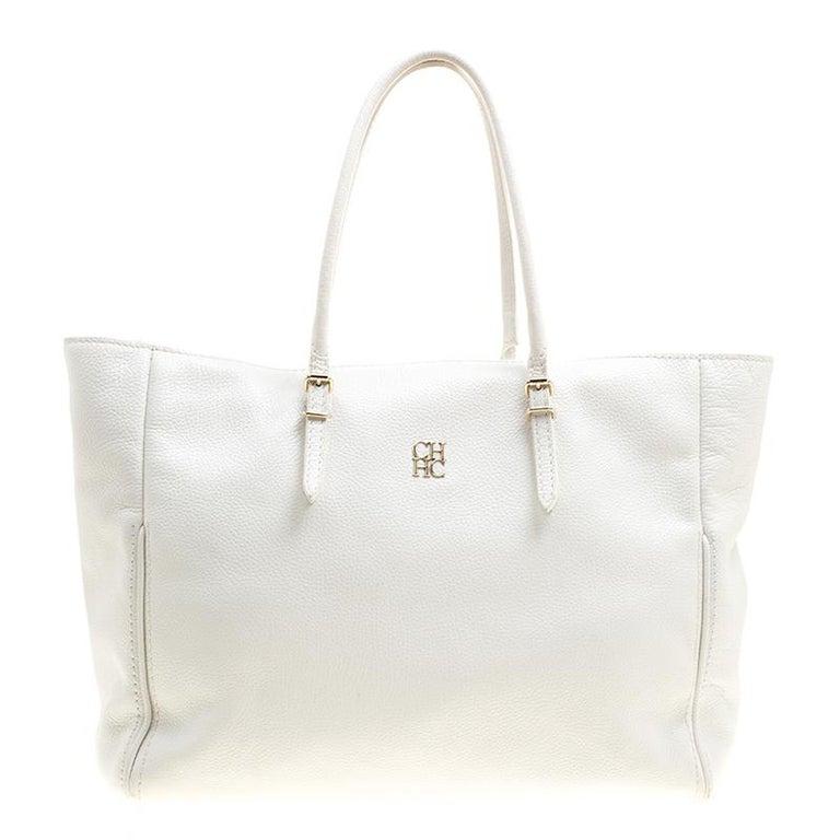 40f38410af0cd Carolina Herrera - Weiße Shopper Tragetasche aus weißem Leder im ...