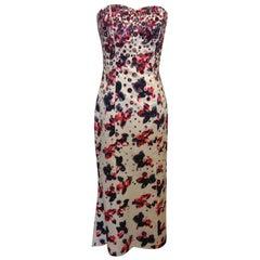 Carolina Herrera White Silk Strapless Evening Gown with Sequins