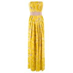 Carolina Herrera Yellow Floral Strapless Silk Gown US 2