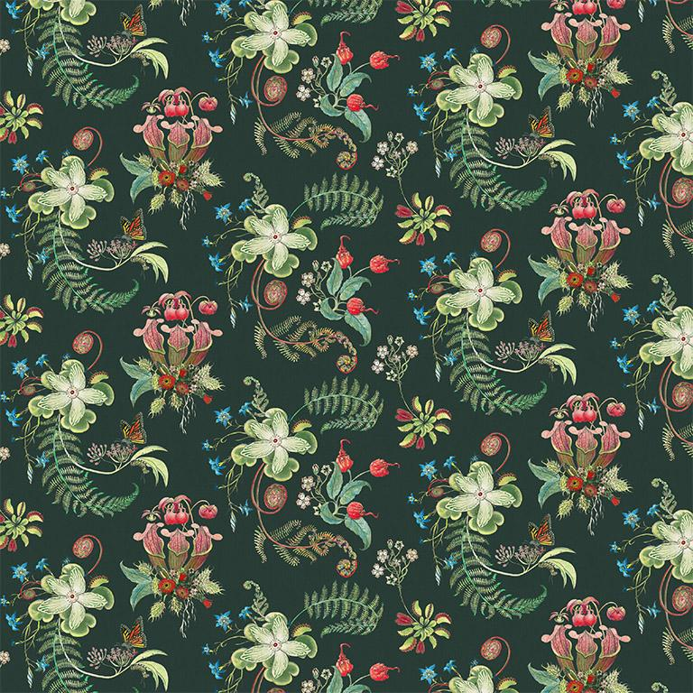 Carolina Posies in Forest Tropical Botanical Wallpaper In New Condition For Sale In Kent, GB