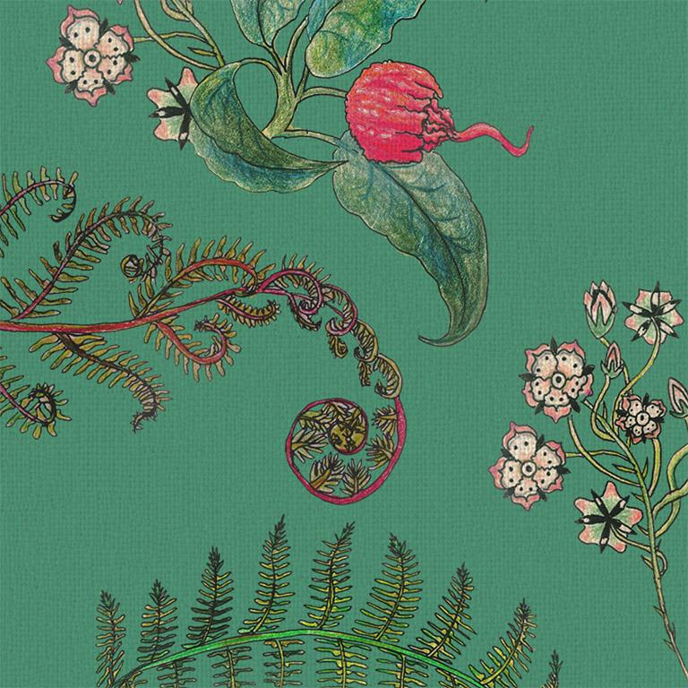 English Carolina Posies in Jade Tropical Botanical Wallpaper For Sale