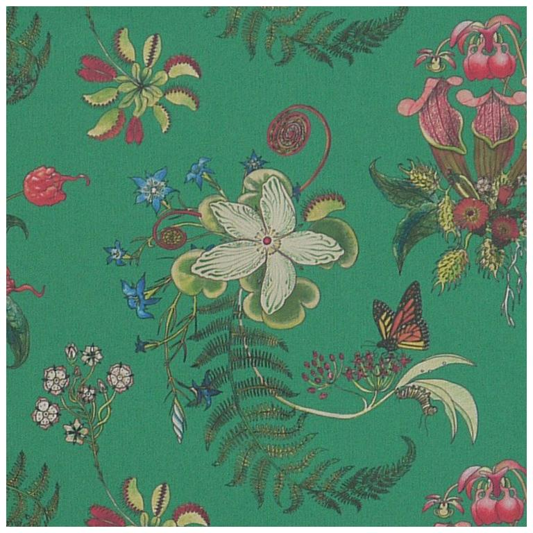 Carolina Posies in Jade Tropical Botanical Wallpaper For Sale