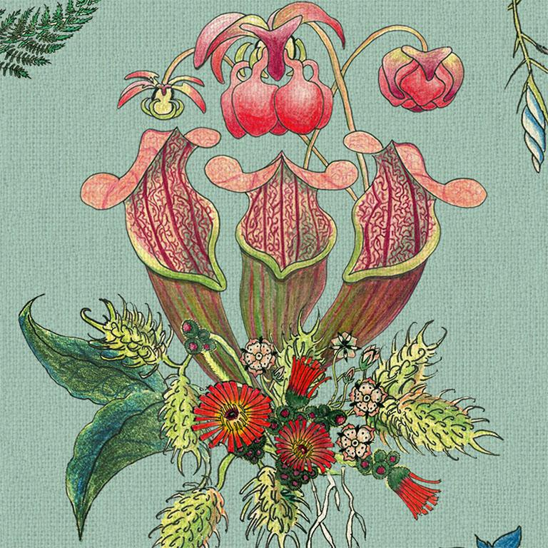 Carolina Posies in Verdigris Botanical Tropical Wallpaper In New Condition For Sale In Kent, GB