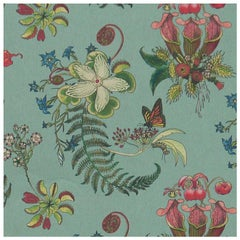 Carolina Posies in Verdigris Botanical Tropical Wallpaper