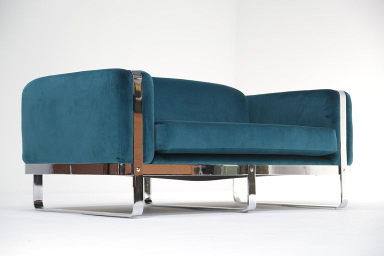 Carolina Seating Company mid-century chrome loveseat sofa in teal velvet.