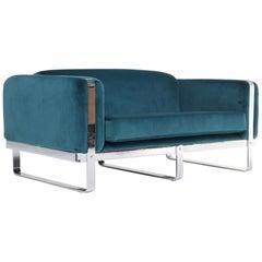 Carolina Seating Company mid-century chrome loveseat sofa in teal velvet.