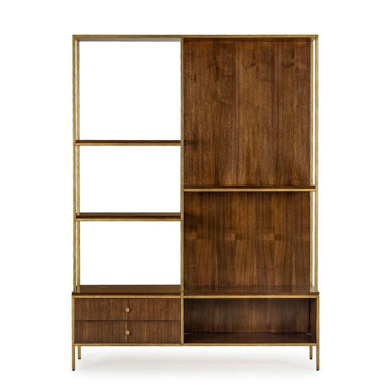 Sideboard Carolina with structure in metal in brass finish with solid oak and walnut structure. Shelf including 2 drawers and 3 shelves.