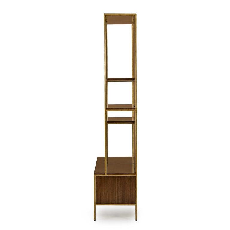 Contemporary Carolina Shelf in Solid Oak and Walnut Structure For Sale