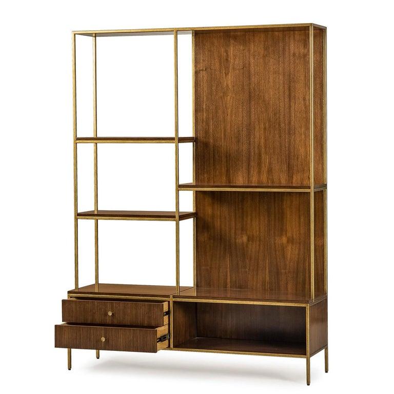 Metal Carolina Shelf in Solid Oak and Walnut Structure For Sale