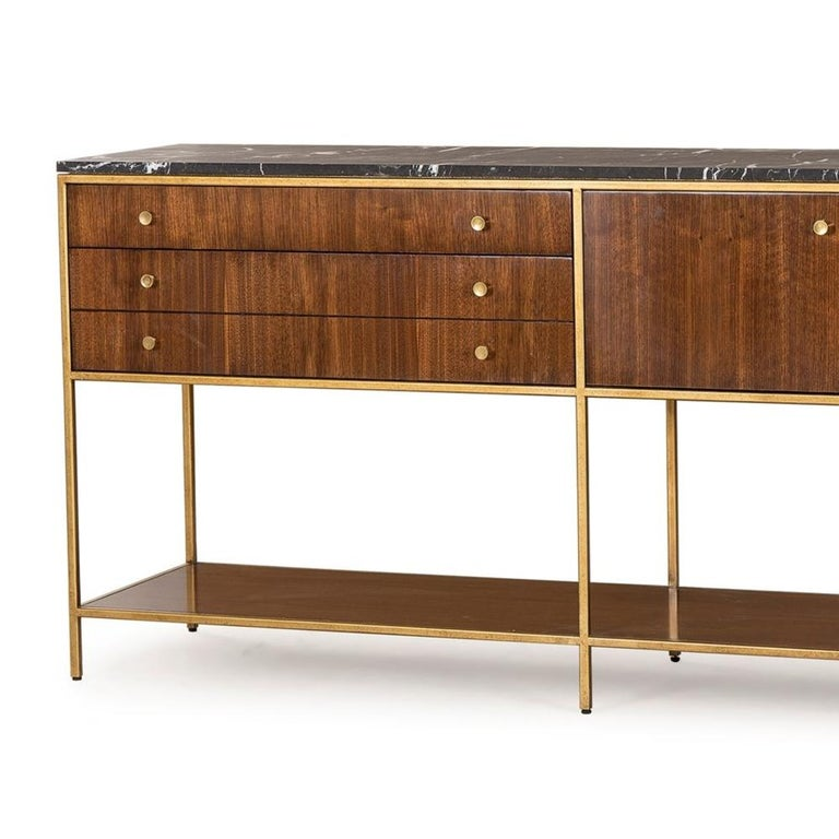 Blackened Carolina Sideboard with Black Marquina Marble Top For Sale