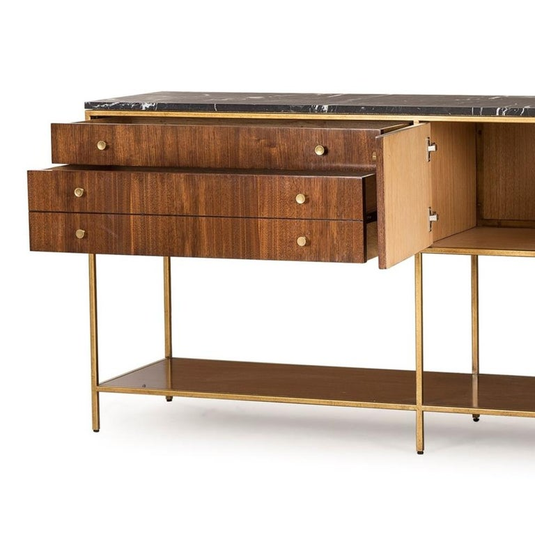 Contemporary Carolina Sideboard with Black Marquina Marble Top For Sale