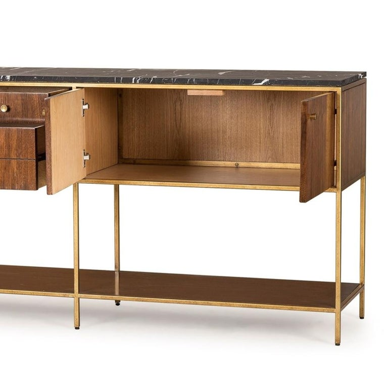 Metal Carolina Sideboard with Black Marquina Marble Top For Sale