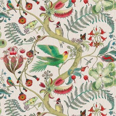 Carolina Tree of Life in Cream Tropical Botanical Wallpaper