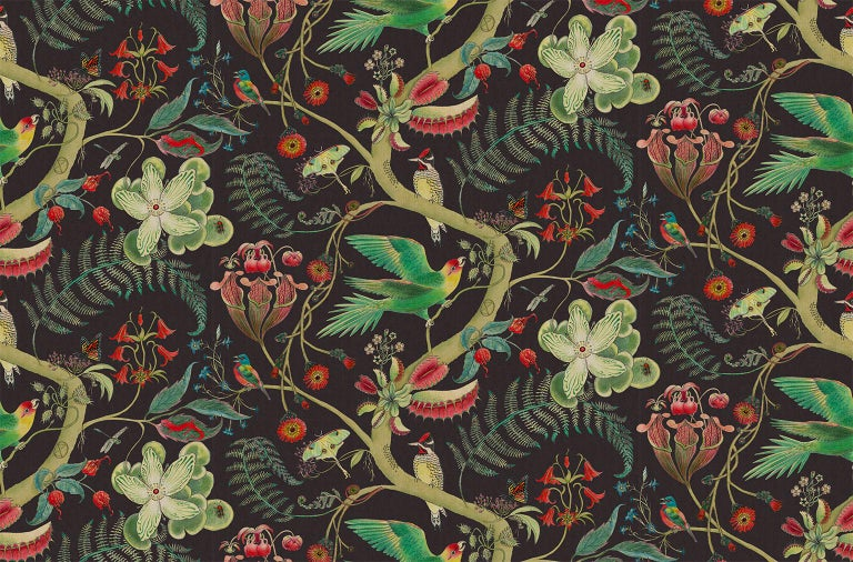 Other Carolina Tree of Life in Prunus Tropical Botanical Wallpaper For Sale