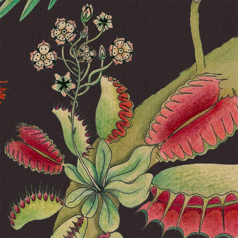 Contemporary Carolina Tree of Life in Prunus Tropical Botanical Wallpaper For Sale