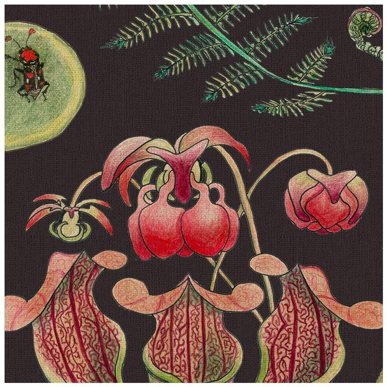 Carolina Tree of Life in Prunus Tropical Botanical Wallpaper For Sale