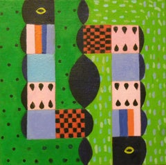 Afternoon Conversation, abstract geometric pattern, green painting