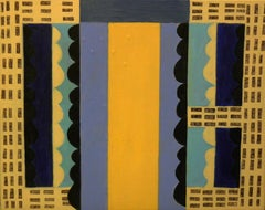 Beach Bazaar, abstract geometric pattern, blue and yellow painting