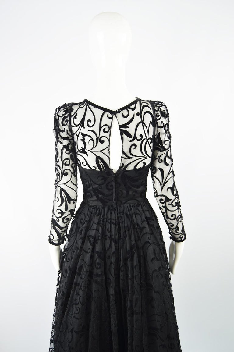 Caroline Charles Flocked Velvet on Tulle Vintage Formal Evening Dress, A/W 1993 For Sale 5