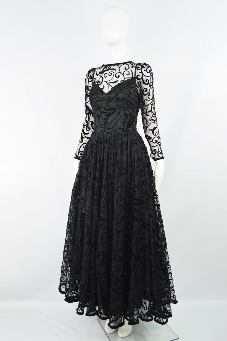 Caroline Charles Flocked Velvet on Tulle Vintage Formal Evening Dress, A/W 1993 In Good Condition For Sale In Doncaster, South Yorkshire