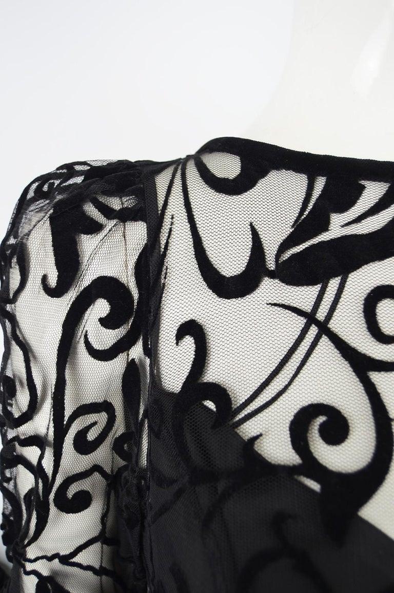 Women's Caroline Charles Flocked Velvet on Tulle Vintage Formal Evening Dress, A/W 1993 For Sale