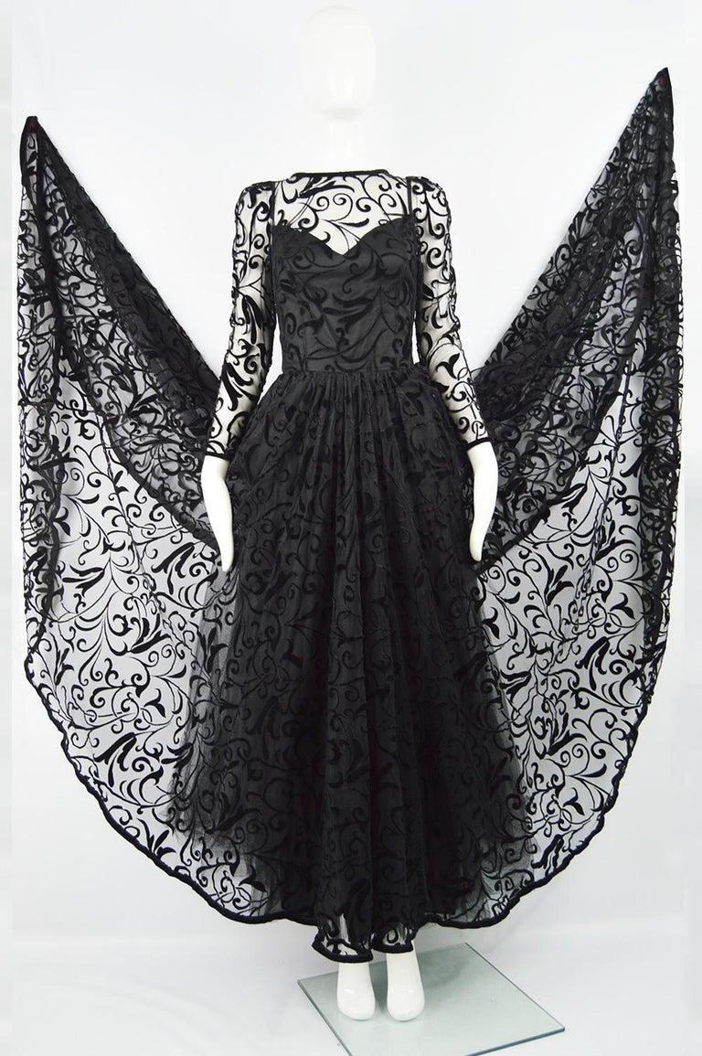 Caroline Charles Flocked Velvet on Tulle Vintage Formal Evening Dress, A/W 1993 For Sale 1