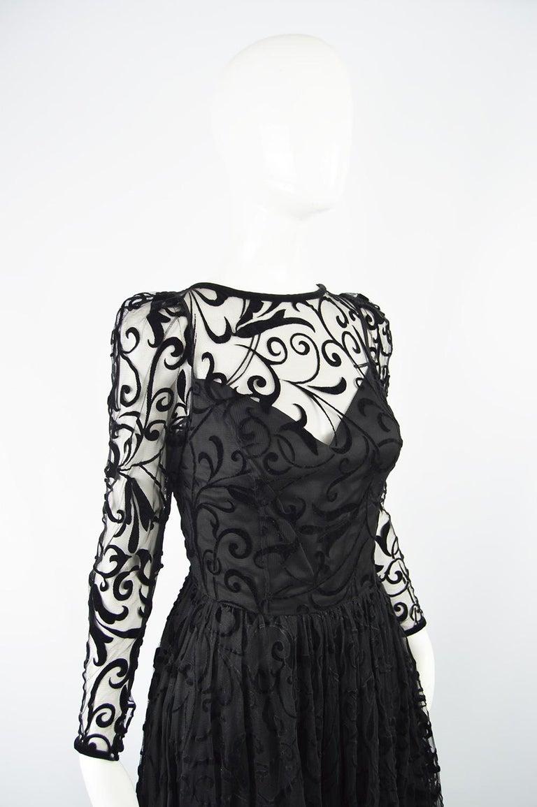 Caroline Charles Flocked Velvet on Tulle Vintage Formal Evening Dress, A/W 1993 For Sale 3