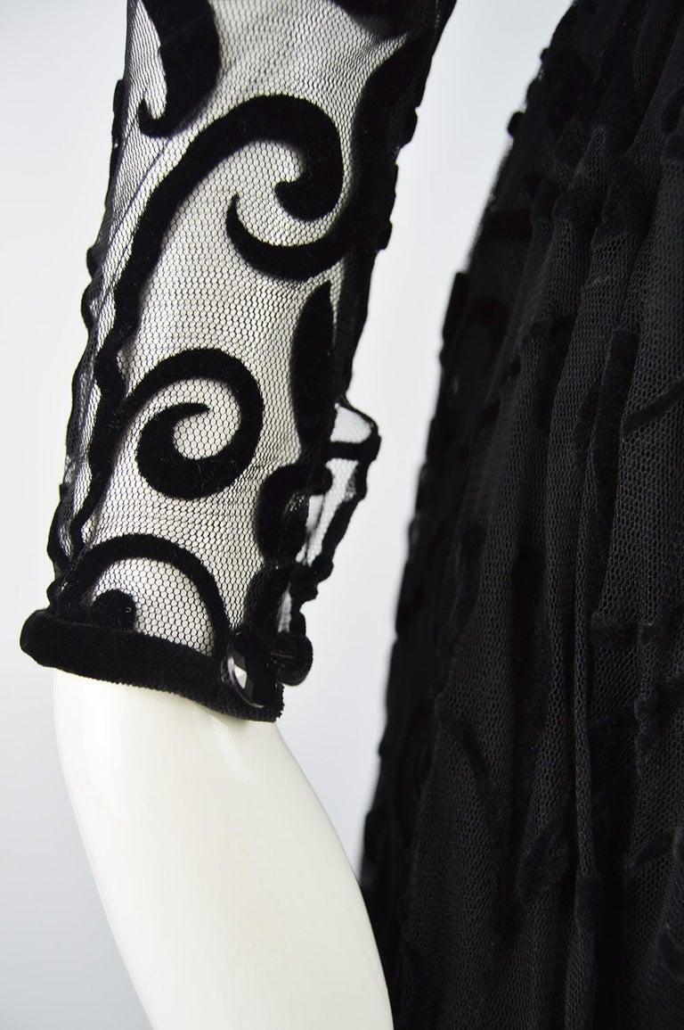 Caroline Charles Flocked Velvet on Tulle Vintage Formal Evening Dress, A/W 1993 For Sale 4